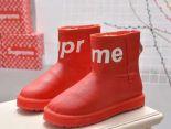 louis vuitton 鞋 2018新款 supreme聯名皮質羊毛保暖雪地靴 紅色