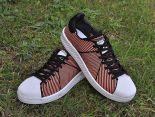 adidas originals superstar primeknit bounce編織貝殼頭系列 三葉草時尚情侶板鞋 橘黑色