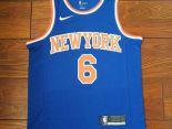 尼克斯nba球衣 夏季新款 尼克斯吸汗透氣籃球服 6號藍色