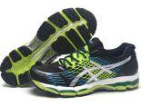 ASICS GEL-NIMBUS 17代 網面時尚透氣男生跑步鞋 黑綠藍