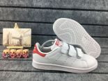adidas stan smith 史密斯漸變色三葉草魔術貼時尚情侶板鞋 白紅色
