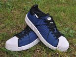 adidas originals superstar primeknit bounce編織貝殼頭系列 三葉草時尚情侶板鞋 藍黑色