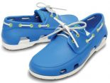 crocs鞋 夏季新款 時尚沙灘帆船鞋 男生系帶戶外休閒鞋 海藍色