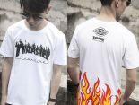 thrasher 短袖 2017新款 字母火焰時尚男生圓領短袖T恤 白色